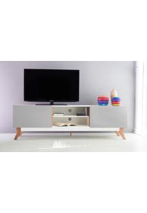 Rack Tv Vintage 1800 Mdf Branco 2 Portas Cinza - 180X44X55 Cm