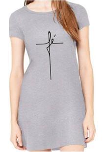 Vestido Criativa Urbana Fé Religiosa Feminino - Feminino-Cinza