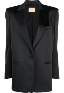 The Andamane Blazer Com Abotoamento Simples - Preto