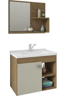 Conjunto Para Banheiro Com 1 Porta E Cuba Lotus-Mgm - Carvalho / Off White