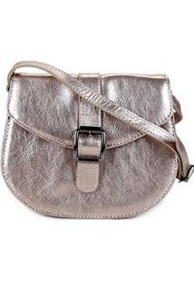 Bolsa Couro Shoestock Saddle Feminina - Feminino-Prata