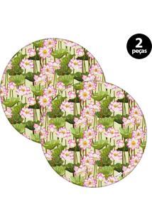 Sousplat Mdecore Floral 32X32Cm Verde 2Pçs
