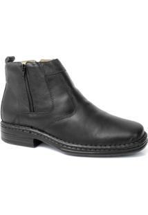 Botina Masculina Em Couro Ziper Anti-Stress Riber Shoes - Masculino-Preto