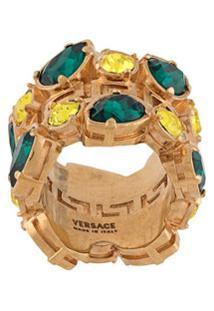 Versace Anel Com Aplicação De Cristais - Dourado