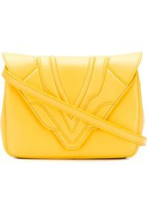 5fca47efd R$ 3873,00. Farfetch Clutch Transversal Dobrável Alças Envelope Ombro  Amarela Ouro Amarelo Couro 'Felix' Elena De - Ghisellini