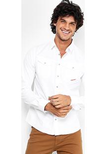 Camisa Coca-Cola Bolso Bordado Masculina - Masculino-Branco