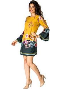 Vestido Estampado Cecilia Handbook - Feminino-Amarelo