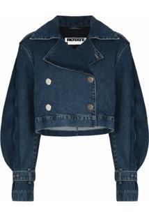 Rotate Jaqueta Jeans Cropped Com Acabamento De Babados - Azul