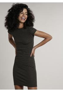 Vestido Feminino Básico Curto Listrado Manga Curta Preto