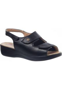 Sandália Anabela Feminina Joanete Em Couro Techprene Doctor Shoes - Feminino-Preto