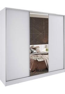 Guarda Roupa Casal Madesa Com Espelho 3 Portas Zurique - Branco