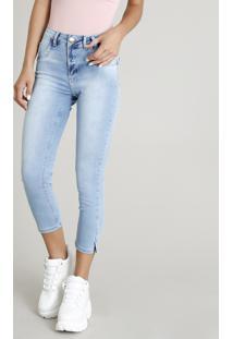 Calça Jeans Feminina Sawary Cropped Azul Claro