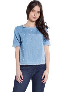 T-Shirt Rosa Line Jeans Desfiada Com Pérolas
