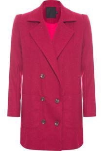 Casaco Feminino Midi Com Fenda - Vermelho