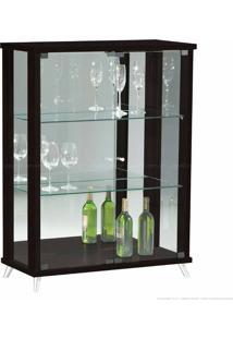 Cristaleira 2 Portas De Vidro Com Espelho E Pés Palito Onix 100% Mdf Tabaco - Móveis Forini