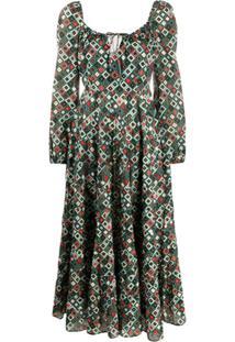Rixo Vestido Com Estampa Geométrica - Verde