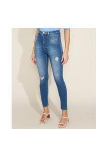 Calça Jeans Feminina Sawary Super Skinny 360 Push Up Cintura Alta Destroyed Azul Médio