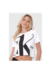 Blusa Cropped Calvin Klein Jeans Lettering Branca