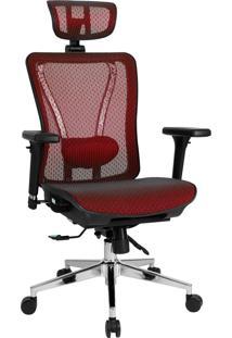 Cadeira Reclinável Dt3Office Moira Vermelha Com Encosto De Cabeça