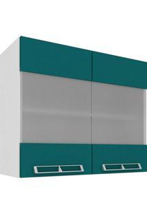 Armário Aéreo Com 2 Portas De Vidro 80X66 Branco E Verde Mia Coccina Art In Móveis