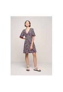 Vestido Feminino Evasê Em Tecido De Viscose - Preto