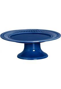Prato Para Bolo Com Pé Em Cerâmica Poppy 13X31Cm Azul