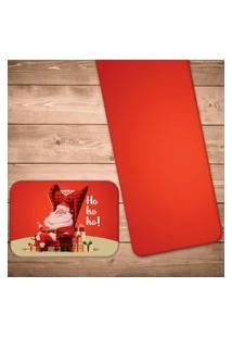 Jogo Americano Com Caminho De Mesa Papai Noel Ho Ho Ho Kit Com 2 Pçs + 2 Trilhos