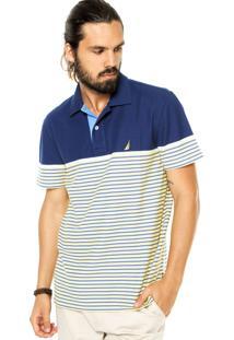 Camisa Polo Nautica Listras Azul