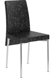 Mesa 326-Cromada-Com 4 Cadeiras 306-Fantasia Preto-Carraro