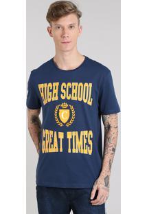 "Camiseta Masculina ""High School"" Manga Curta Gola Careca Azul Marinho"