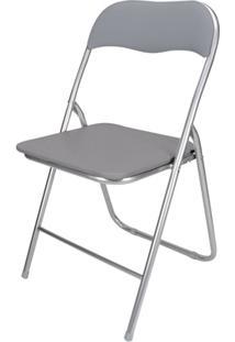 Cadeira Em Aço Dobrável 44X90Cm Cinza