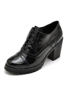 Ankle Boots Oxford Em Couro Feminino Maria Trevo Cano Curto Salto Grosso Tratorado - Preto