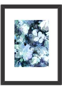 Quadro Decorativo Azul Abstrato Branco Preto - Médio
