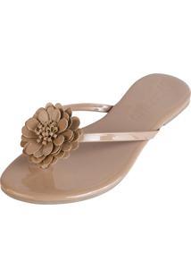 Rasteira Mercedita Shoes Verniz Areia Com Flor