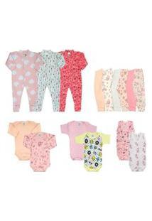 Kit Bebê 15 Peças Maternidade Enxoval Rosa