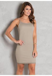 Vestido Anágua Bege Com Renda Moda Evangélica