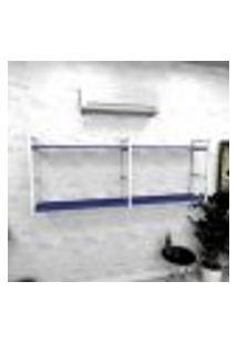 Estante Industrial Escritório Aço Cor Branco 180X30X68Cm (C)X(L)X(A) Cor Mdf Azul Modelo Ind36Azes