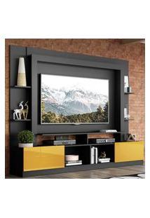 """Rack Estante C/ Painel Tv 65"""" E 2 Portas Oslo Multimóveis Preto/Amarelo"""