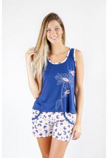 Pijama Regata Gislal Verão Shorts Flor Feminino - Feminino-Azul+Branco