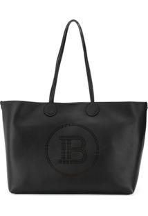 Balmain Perforated Logo Tote Bag - Preto