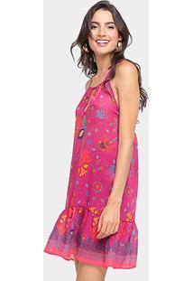 5f9ecaed1 ... Vestido Sommer Curto Estampado Com Babados Barra E Forro - Feminino-Rosa  Escuro