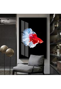 Quadro 150X100Cm Abstrato The Fish Vidro Cristal E Moldura Preta Decorativo Interiores - Oppen House