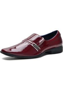 Sapato Social Verniz Elástico Dia A Dia Conforto Vermelho