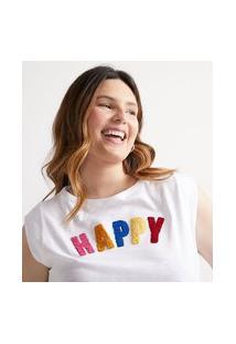 Blusa Regata Com Bordado Happy Curve E Plus Size