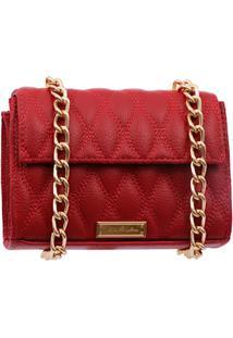 Bolsa Pequena Em Couro Vermelha