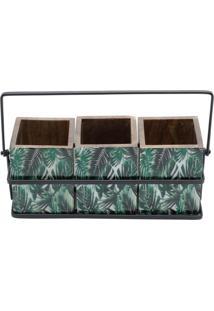 Porta Talher Bon Gourmet Em Madeira Leaf Verde - Tricae