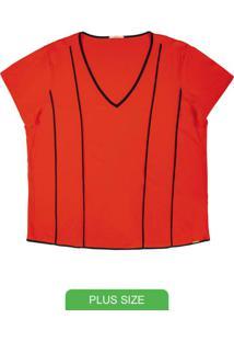 Blusa Em Tecido Flex Com Decote V Laranja
