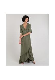 Vestido Feminino Mindset Longo Envelope Manga Curta Verde Militar