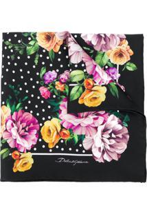 Dolce & Gabbana Lenço Com Poás E Estampa Floral - Preto
