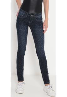 Jeans Skinny Animal Print - Azul Escuro - Mandimandi